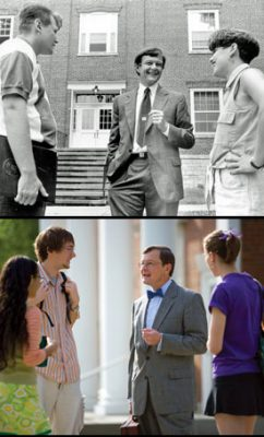 Les Garner makes time to stop and visit with students Brian Newman '96 and Heather Allyn '96 in 1994 (top) and again with Nick Light '10 and others in 2008 (bottom). (Photos by Christ Stewart, Jason Jones)