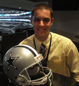 Andrew Kinn '12 as a Reisen Fellow in Sports Management with the Dallas Cowboys. (Photo by Andrew Kinn '12)