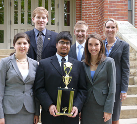 Cornell's Mock Trial team took sixth place at the 2010 National Tournament. Front Row: Nedah Zamani '10, Kasun Wijegunawardana '10, Annika Strombom '10. Back row: Francis Dixon '10, Eli Wade-Scott '10, Madeline Roche '10. (Photo by R.J. Holmes-Leopold)