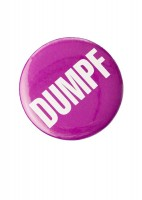 """Dumpf"" button: Cornell has a long history of student dissent, from men in the 1880s refusing to live in South Hall under the supervision of the faculty, to the 1968 takeover of Old Sem by 30 students who demanded better representation and more courses on African-American history and culture. The latter event undermined the Samuel Stumpf presidency, and student protests continued into the '70s with buttons like this, which urged the college to ""Dumpf"" Stumpf."