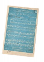 "Blue-line Manuscript of ""Song of Affirmation"": Cornell's centennial year of 1953 was marked with a number of celebrations and pageants, and one of the largest was the premiere of a piece by Norman Dello Joio, one of the foremost composers of his time. The Chicago Symphony Orchestra and the college's Oratorio society performed the work at the May Music Festival that year."