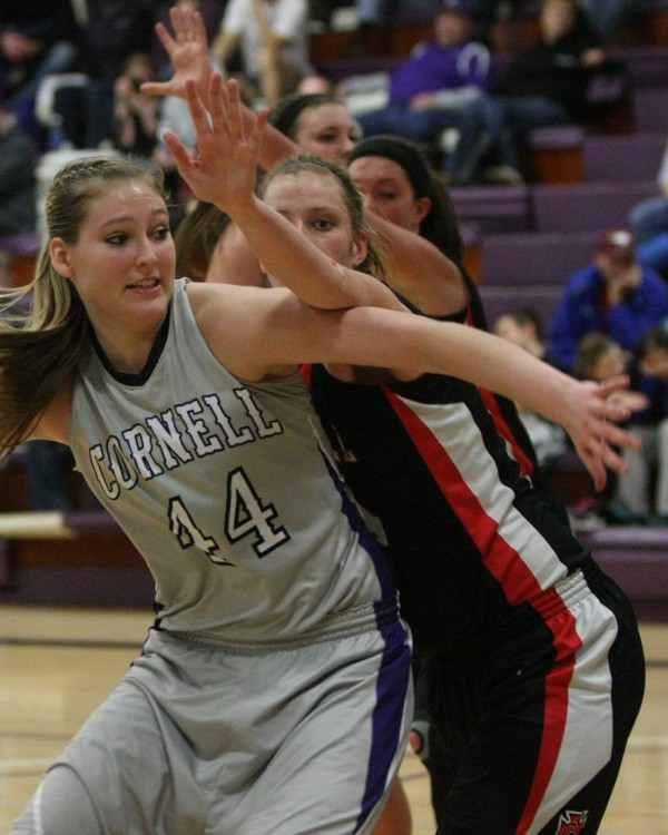 Senior center Camille Marie puts pressure on an opponent during Cornell's 66–45 trouncing of Grinnell College in January.
