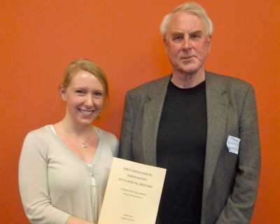 Liane Olson received the Steve Wieting Award for best paper integrating theory and research at the 2013 annual meetings of the Iowa Sociological Association.