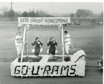 Student-designed floats like this one from the 1950s were a central feature of the Homecoming parade, one of the longest-lasting Homecoming traditions.