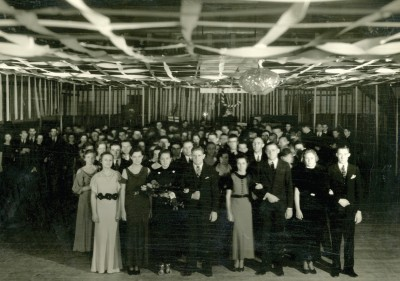 Students were heavily involved in early Homecoming events such as this 1934 Grand March.