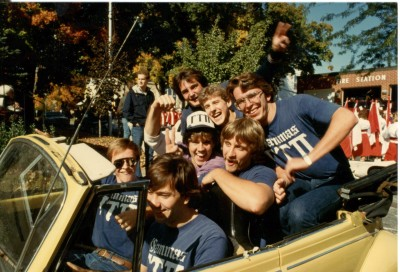 The Homecoming parade tradition crossed generations and gave Greek organizations—like the Gammas pictured at right—a chance to show their pride.