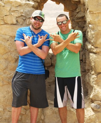 Although they had met only once, Jonathan Stirn '13 (left) and Avi Kolel '09, both members of Zeta Tau Psi, reunited in the Negev Desert in Israel during Block 8. Stirn and Taylor Tvede '13 were there as part of a biology class and contacted Kolel, who took a weekend to see them, and then hosted them in his Tel Aviv home after the course ended.