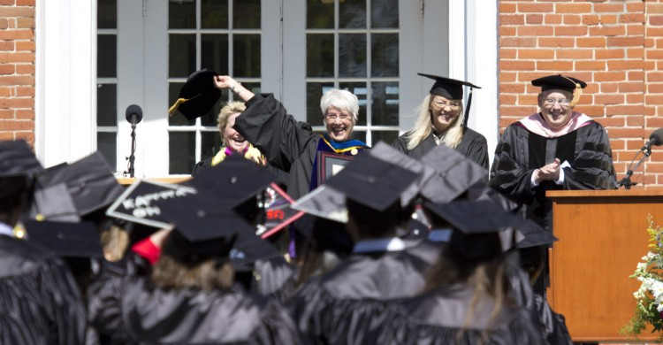 At Commencement the college said goodbye to more than just its graduates—it also honored the retirement of Professor of Education Gayle Luck. She was granted emerita status and honored for her work both as an education professor and as the first faculty director of off-campus study.