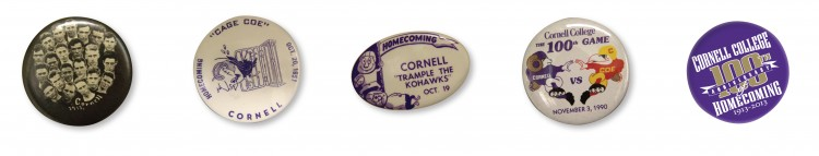 A collection of Homecoming buttons, starting with the first Homecoming in 1913 at left and ending with the latest Homecoming button at right.