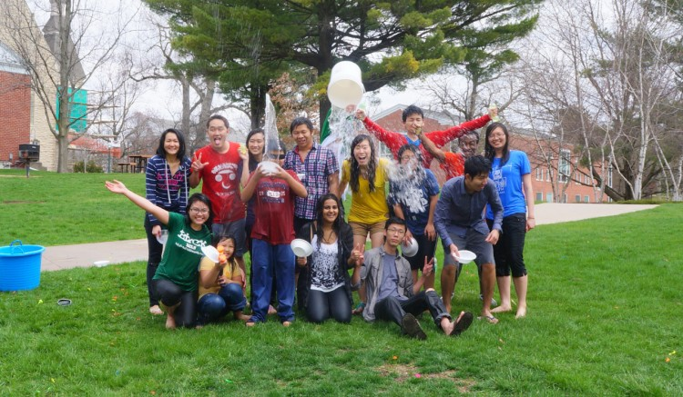 Splashy new year Zarni Htet '13 held a celebration of Thingyan, the traditional Burmese New Year Water Festival, which is similar to observations in other Asian cultures, as well. Front row from left: Julie Hoang, Wynn Oo, Bryan Oo, Shivani Suresh, Phyo Pyae Sone Lin, and Zarni Htet  Back row from left: Khine Myat Noe Aung, Zaw Naing Win, Wint Yee Hnin, Htut Khine Htay Win, Dzung Dang, Aeint Thet Ngon, Aung Ye Kyaw, DaWit Tsigie, and Trang Hoang