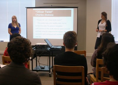 Seniors Léonie de Jonge and Amanda Engel practice their proposal for an audience of Cornellians.