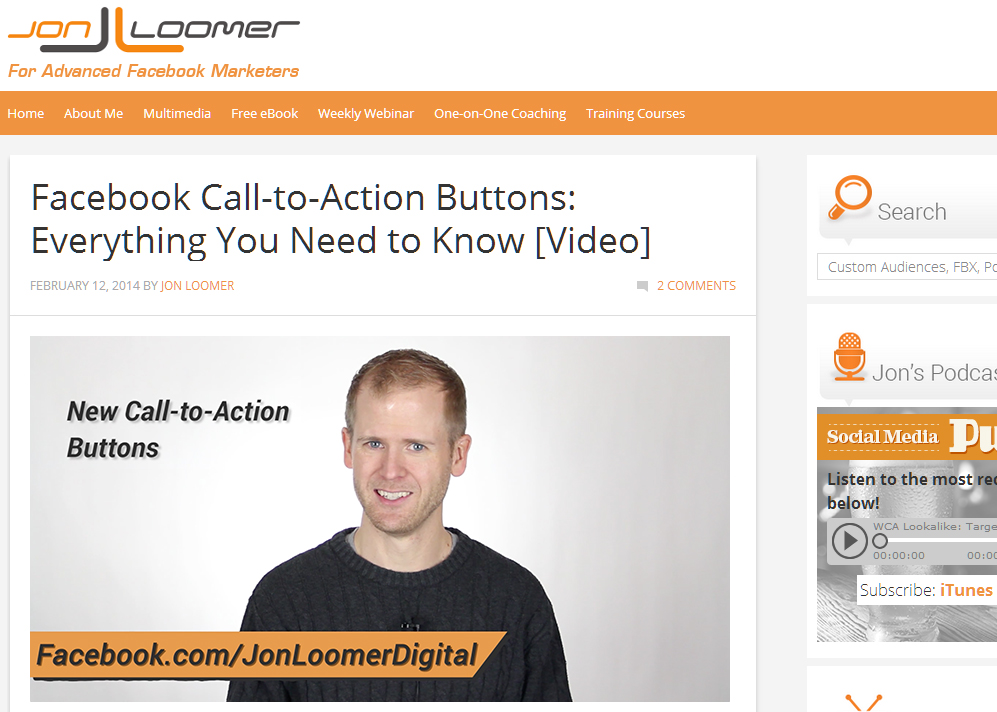 Jon Loomer '97 runs a social media blog recognized by socialmediaexaminer.com
