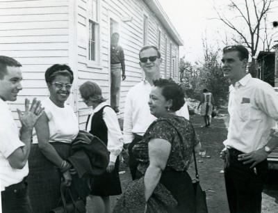 Volunteers worked in small groups to hand out voter registration materials in the African-American neighborhoods of Montgomery, Ala. Roger Davis '65