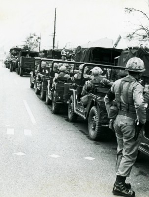 The National Guard lined the streets to keep peace during the third march from Selma to Montgomery. Roger Davis '65