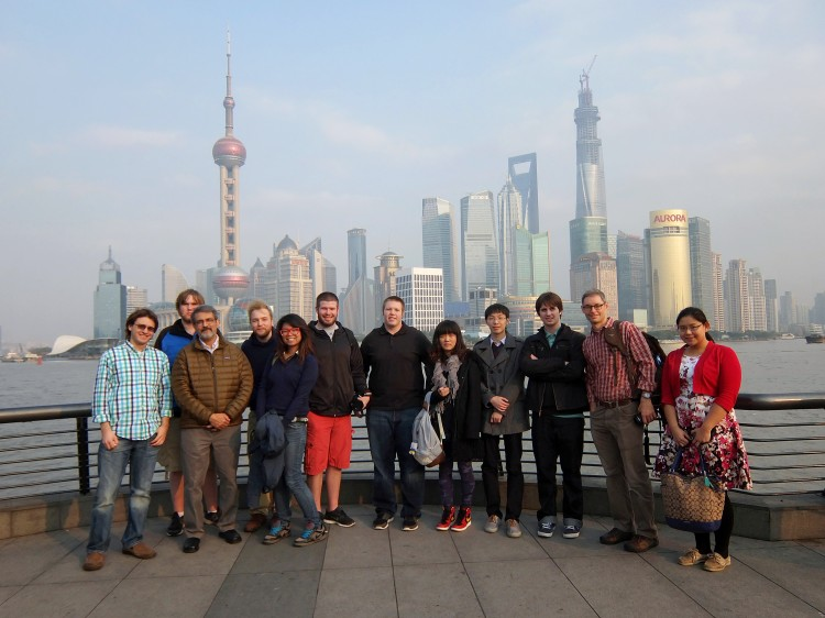 Growth theory is a central pillar of macroeconomics, so what better place to study growth than in the fastest growing economy in the world? Cornell's Macroeconomics Seminar went to China in December, led by economics and business Professor Todd Knoop, and joined by Professor A'amer Farooqi. The class visited Shanghai (pictured), Chengdu, and Beijing.