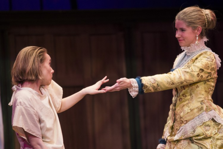 """Cornell students recently performed Bernard Pomerance's Tony Award-winning play """"The Elephant Man."""" Based on the life of Joseph Merrick (portrayed by M.C. Cole '15, with Millicent Marter '15 at right), who lived in London during the 19th century as a carnival attraction, the show explored the way that London society eventually came to understand Merrick as a human, rather than a curiosity. Through image, dance, beautiful costumes, lighting, and scenic design, the production revealed the emotional, spiritual, and physical world of Merrick's Victorian England."""