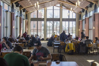 One of the major additions to the Thomas Commons was the Smith Dining Room, which looks out on the Ped Mall.