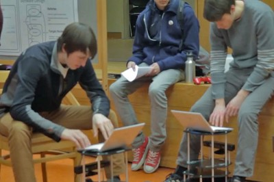 Students in Ross Sowell's Human-Robot Interaction course relied on the latest research to learn about this emerging field, then applied their knowledge to their own robotics projects.