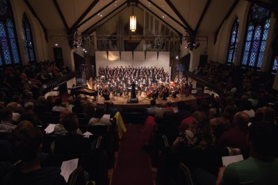 "Cornell's orchestra and choir combined to perform ""QED: Engaging Richard Feynman,"" an ambitious, 20-minute long piece."