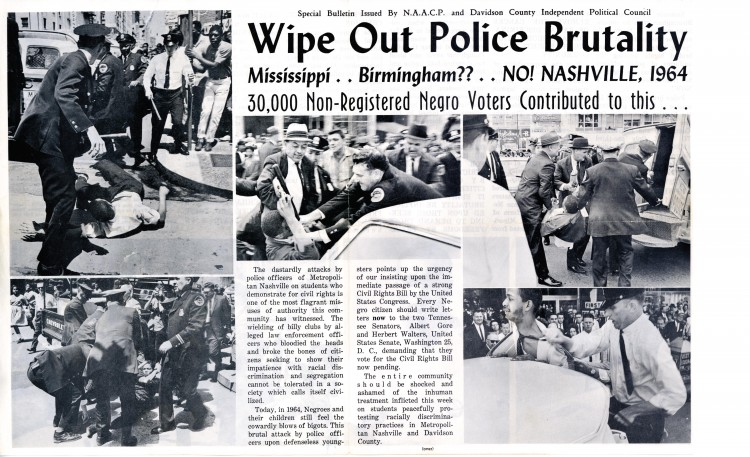 An NAACP flyer designed to bring attention to police brutality in the south. (Click to enlarge)