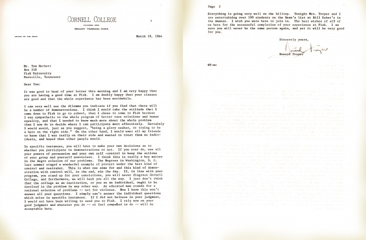 the letter Tom Herbert received from Cornell Dean Howard Troyer supporting his decision to protest. (Click to enlarge)