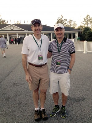Charlie Vasey '76 (right) surprised Bill Ebinger '76 for his 60th birthday with a trip to the Master's golf tournament. The two were medical school roommates at the University of Chicago.