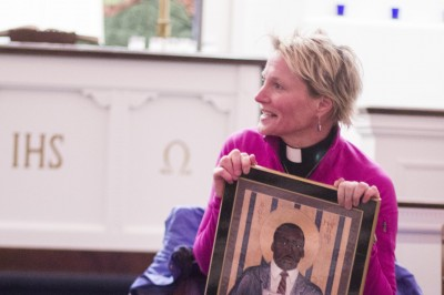 The Rev. Catherine Quehl-Engel '89 during a Martin Luther King Day vigil.