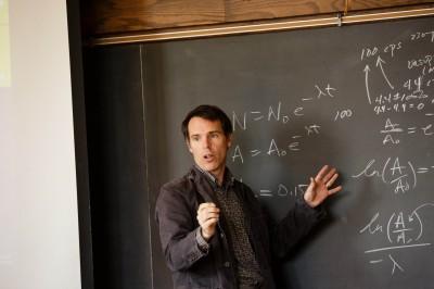 Geology Professor Rhawn Denniston teaching.
