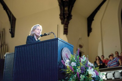 Goodwin lists the qualities of great presidents Author and historian Doris Kearns Goodwin  told a standing-room-only crowd at the 2014 Delta Phi Rho Lecture on Sept. 18 in King Chapel about the eight traits that made Abraham Lincoln, Theodore Roosevelt, and Franklin D. Roosevelt so successful as presidents. She covered the way each faced personal adversity, the way each surrounded themselves with people who were willing to disagree with them and argue, the fact  each learned lessons from their failures  and mistakes, their emotional intelligence,  their sense of timing, and more. Mehrdad Zarifkar '09