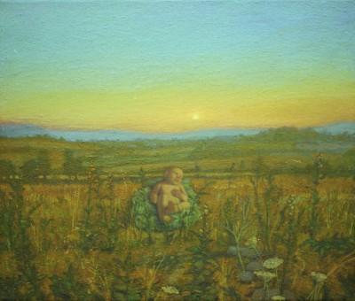 """Spartan Baby Surviving"", 2013, Gillian Pederson Krag, oil on canvas"