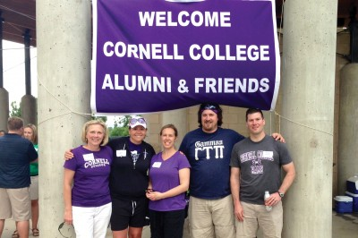 Jan Lansing Murphy '83, Erika Pepmeyer '04, Lisa Carey Runia '03, Andrew Martin '04, and Matthew Lang '96 at the Cornell College Club of Colorado picnic in June.