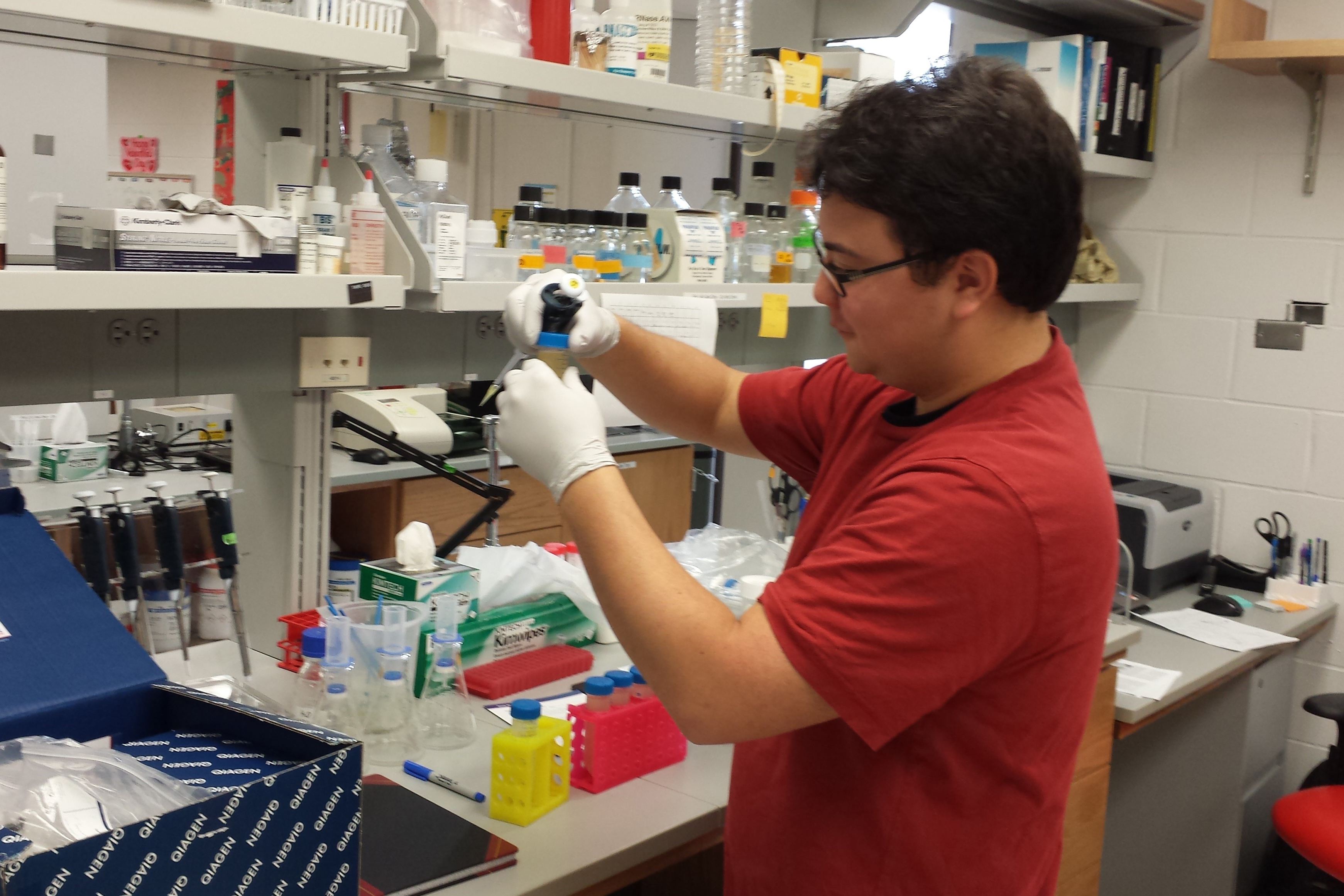 David Yamaguchi in the lab at his fellowship at the University of Iowa.