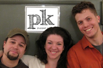 The three members of Puppet Kitchen who will be in residency on campus this spring.