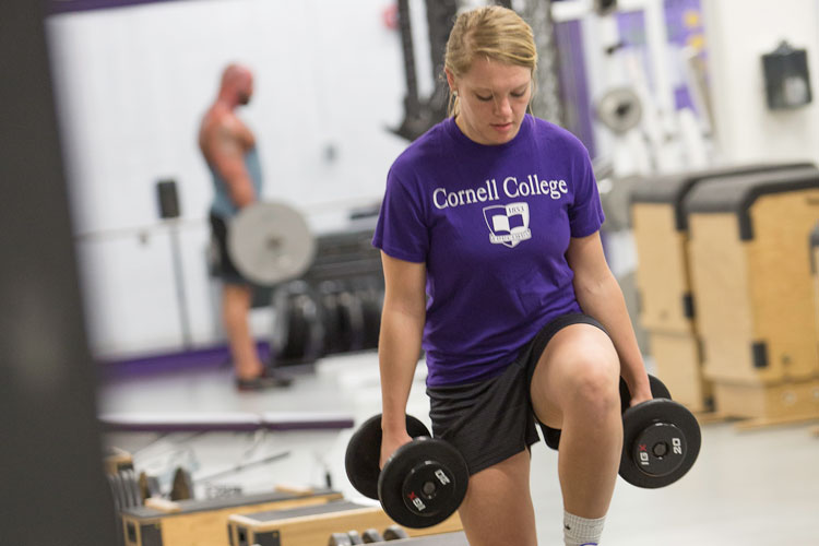 Student exercise in Cornell's Meyer Strength Training Facility