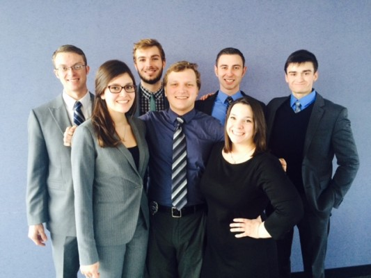 A mock trial squad at the Regional tournament.