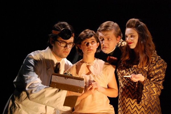 "Mitchell Chapman, Sara Feldman, Tom Wojcik, Sara Cooper in ""Machinal."" Photo by Haley Severance."