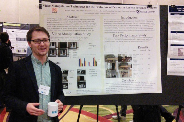 Alex Hubers, a Cornell College senior, presented his research in early March at the premier conference on Human-Robot Interaction.