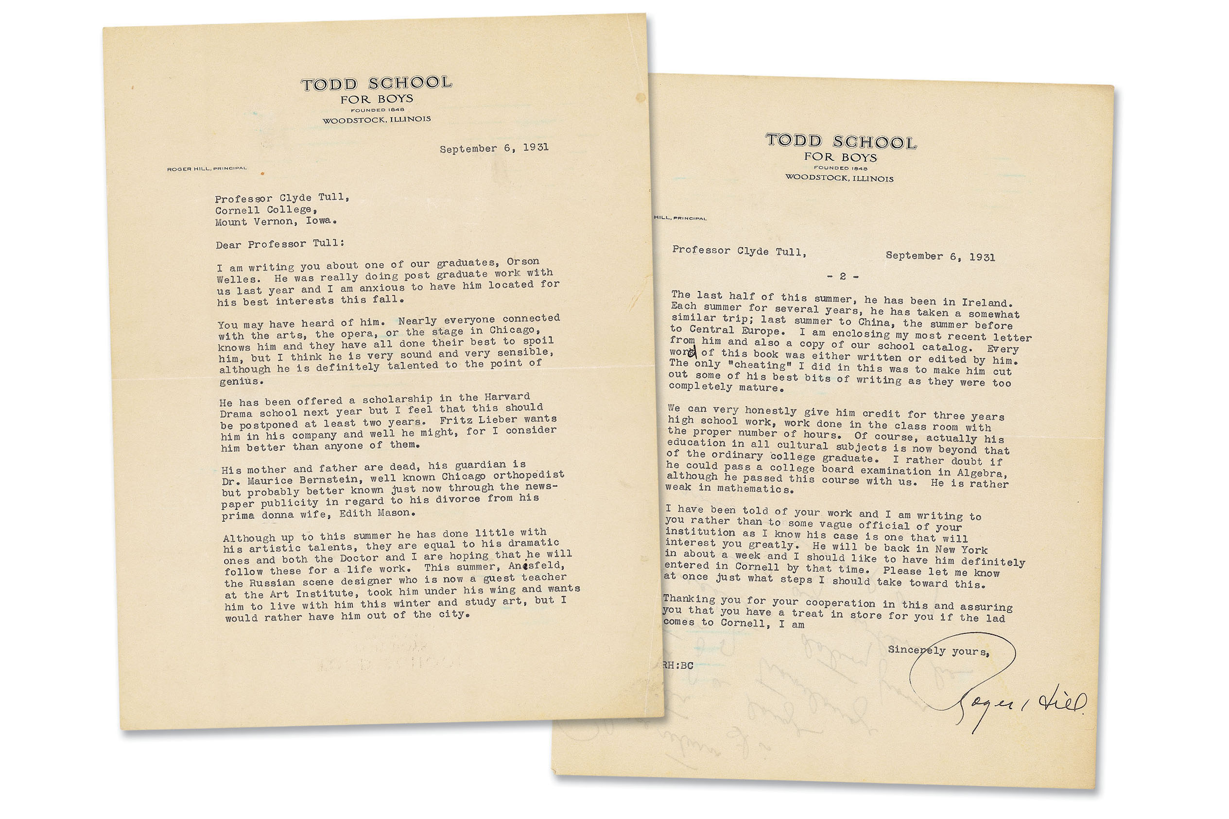 "A letter from Roger Hill  Cornell College English Professor Clyde ""Toppy"" Tull recommending a 17-year-old Orson Welles."