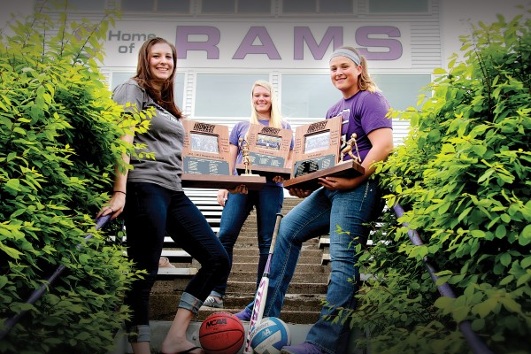Mount Vernon High School graduates (from left) Taylor Dicus '15, Kylea Weber '15, and Kari Martin '15 left an impressive record in Rams volleyball, basketball, and softball.