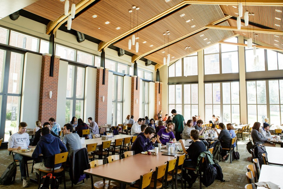 Students eating in the new Smith Dining Room in the Hilltop Café.