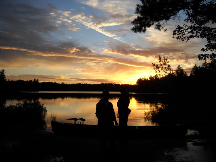 After a brutal 420-rod portage into the Boundary Waters Canoe Area Wilderness in northern Minnesota, students were rewarded with a stunning sunset.