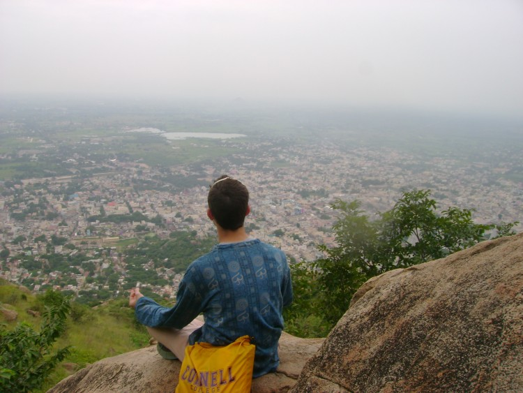 Austin Neverman '12 and his classmates meditated on Mount Arunachala, and Indian holy site, during the course Namaste: Mysticism, Meditation, and Servant Leadership in India.