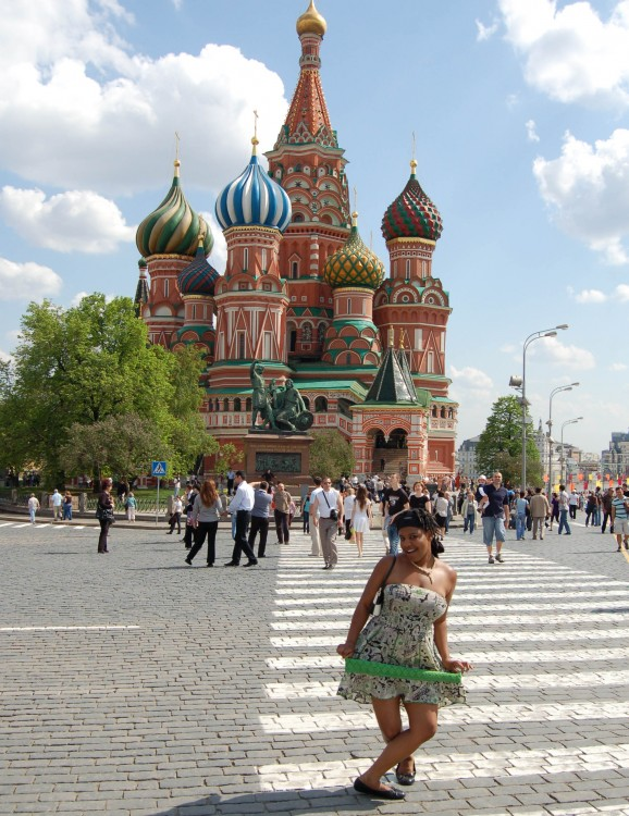 Danielle Cobb '09 poses outside St. Basil's Cathedral in Moscow's Red Square during the course Russia Today