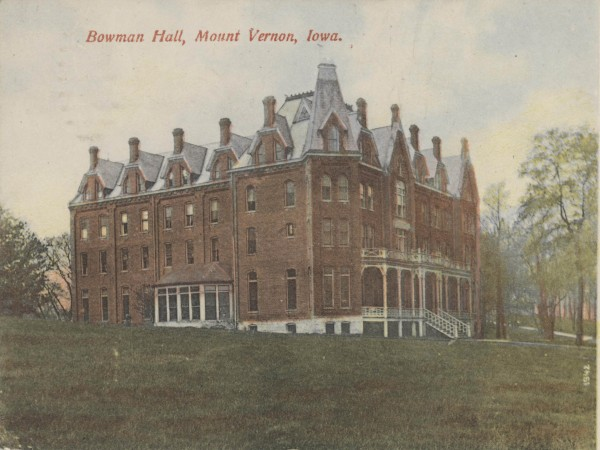This postcard of Bowman Hall was mailed to Pennsylvania in 1907 with a 1-cent stamp.