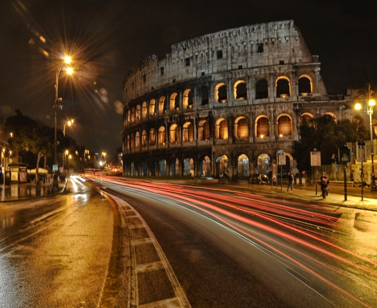 "Once the site of gladiator contests, the Colosseum is now a step off Rome's Metro. Art history student Katelyn Hillmeyer '13 preferred the nighttime view, calling it ""magical."""