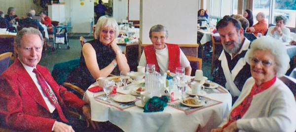 "Left to right: Chuck Warden '41, Barbara Warden McKee '66, Betty Rowley '42, Don McKee, Ruth ""Gussie"" Ohlsen '41."