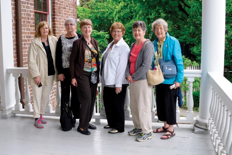 Members of The Cornell 8, from left: Pam Pulliam Syfert '65, Barbara Schroeder DiNovo '65, Mary Godfriaux Phillips '65, Jackie Garrett Hastay '65, Jean Pinkerton Johnson '65 and Elizabeth Shuman Burgess '65. Missing: Jane Reichman Olson '65 and Gayle Jensen Van Auken '65.