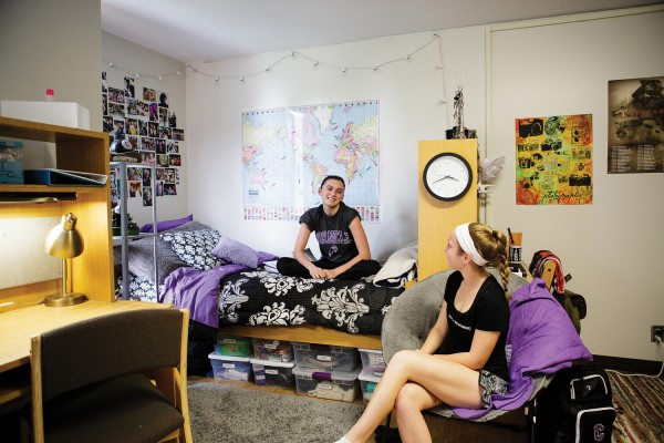 Residents visit in a room on 4th floor Dows Hall. Photo by Robyn Schwab Aaron '07
