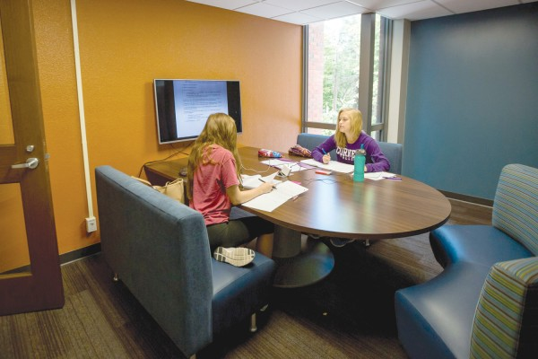 One of the lounges in Pauley-Rorem Hall includes a space for collaborative study. Photo by Robyn Schwab Aaron '07