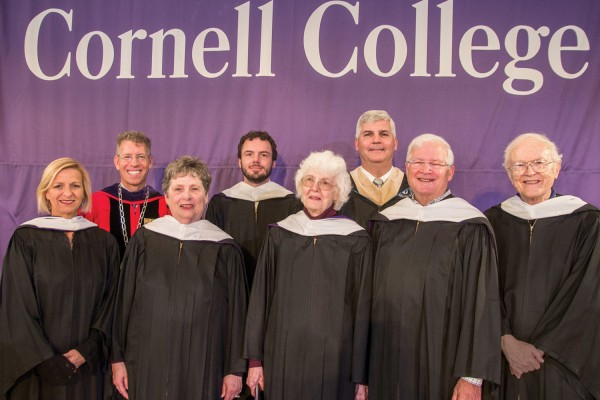 From left: Andrea Herrera '85, President Jonathan Brand, Judy Hesler Jorgensen '60, David Lienemann '05, Ann Ruby Hemken '54, Alumni Board President Fred Holtz '86, Robert McLennan '65, and Duane Carlson '55.